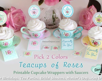 1/2 OFF COUPON- Cute Tea Cups 2 Color Choices, Shabby Rose Garden Party, Cupcake Wrappers Printable, Tea Party Supply, Cupcake WrapsTC2- 001