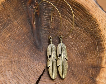 Navajo Bronze Tribal Feather Earrings. Native American Indian Feather Large hoop earrings. Unique Boho Chic Warriors by Molax Chopa Tribe