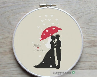 Wedding cross stitch pattern, bride and groom, just married, DIY customizable pattern, modern cross stitch, PDF,  ** instant download**