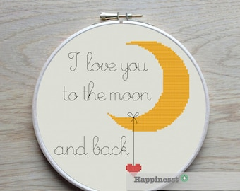 modern cross stitch pattern, I love you to the moon, valentine, cross stitch quote, PDF  ** instant download**