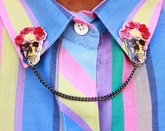 Collar Clips, Skull Collar Pins, Skull Brooch, Sugar Skull Brooch, Sugar Skull Pin