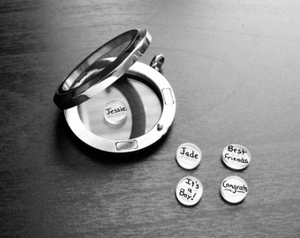 Personalized Floating Charm for Floating Lockets-1-Piece-Add Name, Date, or Word-Handmade-Great Gift Ideas