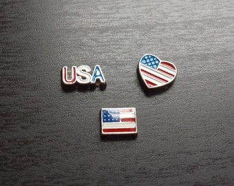 America Floating Charm for Floating Lockets-US Flag-Gift Idea