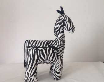 "Zebra #015- Large Zebra made by Ugandan Disabled Women. 13"" tall and 8"" wide."