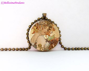 Fruit, Alphonse Mucha 1 in. 25.4 mm necklace or keychain