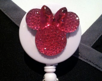 Sparkle Shine Minnie Mouse ~ ID Holder ~ Badge Reel ~ Slide Belt Clip ~ Alligator Clip~ Retractable Badge ~ Gifts Nurses Doctors Teachers