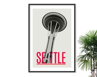 Seattle Art Space needle print Seattle print Typographic Poster Travel poster Cityscape print washington state art seattle art seattle map