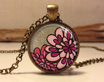 Floral necklace.  Pink Flowers pendant jewelry (Floral #4)