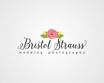 Wedding Photography Logo, Premade Logo, Flower Logo, Rose Logo, Typography Logo, Custom Business Logo