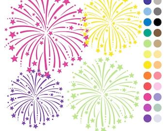 80% OFF SALE Fireworks Clip Art, Digital Fireworks, Fireworks Clipart