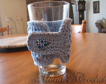 Hand Crocheted Basketweave Cup Cozy   Cup Cover   Glass Cozy   Glass Cover   Drink Cozy   Drink Cover - Light Blue