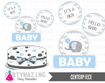 Baby Blue Elephant Centerpiece, Baby shower DIY Printable Centerpiece, Instant download -D415 BBEB1