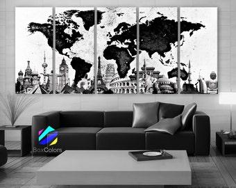 "XLARGE 30""x 70"" 5 Panels Art Canvas Print Original Wonders of the world Map Black & White Wall decor Home interior (framed 1.5"" depth)"