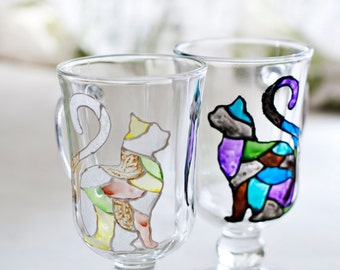 Cat mug Black and white mosaic Set of 2, Gift for couple cat lovers, Stained glass cup, Wedding, Engagement, anniversary, housewarming gift