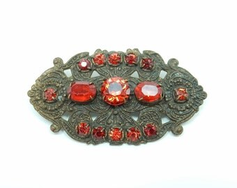 Vintage Jewelry - Czech Glass Brooch from Downton Abbey - Antique Crystal Brooch - Vintage  Rhinestone Brooch - 1920s Brooch Bouquet