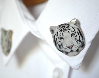 White tiger jewelry , white tiger , tiger brooch , tiger pin , tiger accessory , tiger shirt , animal pin , animal brooch , unique brooch