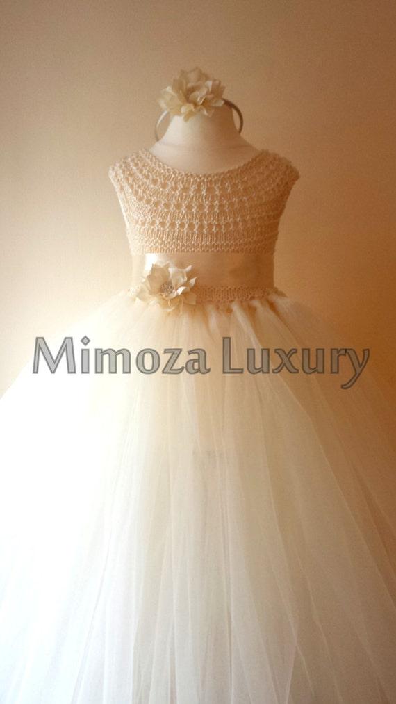 Shabby Chic Ivory Flower girl dress, tutu dress, bridesmaid dress, princess dress, cream crochet top tulle dress, shabby chic vintage look
