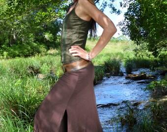 Maxi Split Skirt - Brown, Long Skirt, Goddess Skirt, Gypsy Skirt, Festival Clothing, Hippie Skirt, Elegant Skirt.