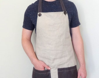 Easter gifts for him etsy mens birthday gift mens natural linen apron gardeninggrilling apron light weight negle Choice Image