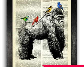 Gorilla with Exotic Birds Art Poster Print, Gorilla Bedroom Wall Decor, Nursery Animal Art, Dictionary Page Art Print, Vintage Animal Art