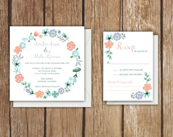 "Floral Wreath Wedding Invitation Suite - 5.25"" Square & RSVP Card - Invitation Sets"