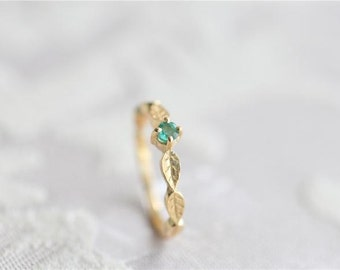 Retro Emerald 925 sterling silver Ring-14k gold plated- leaf ring