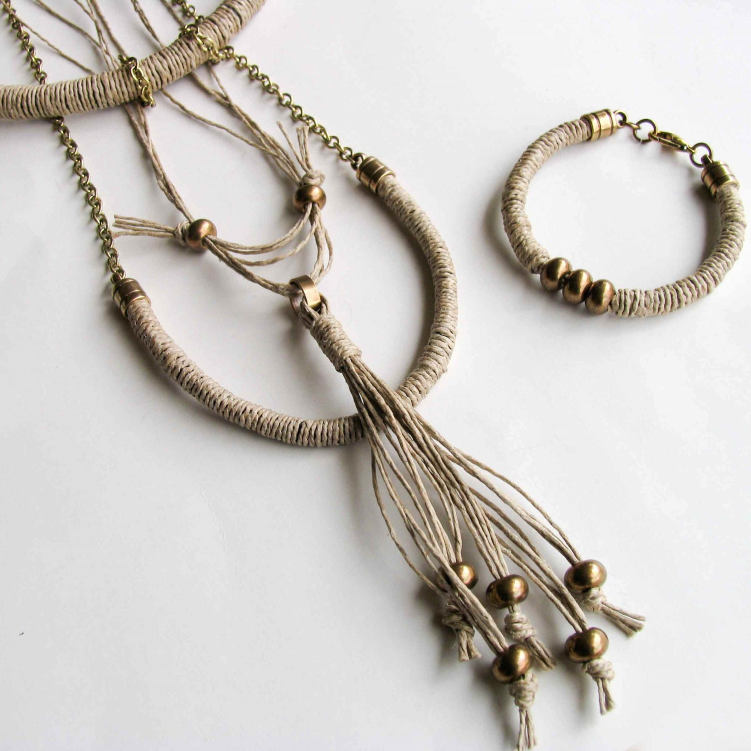 tassel necklace boho necklace tribal necklace lariat