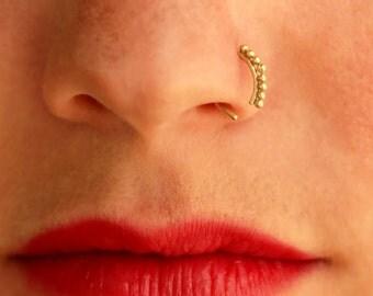 Gold Nose Ring, Indian Nose Ring, Nose Ring, Unique Nose Ring, Piercing Jewelry,  Nose Hoop, Piercing Nose, Nose ring, Solid Gold Nose Ring