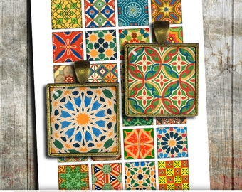 Medieval Designs 1x1 inch, 1.5x1.5 inch 0.75x0.83 Square images for Jewelry Making Digital Collage Sheet -  Instant Download