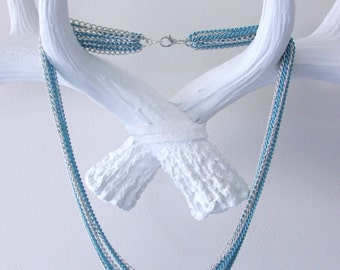 Silver and Blue Layered Chain Necklace