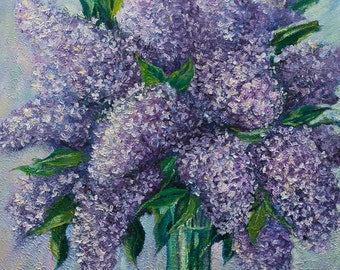 Oil Painting - Lilac - ORIGINAL OIL PAINTING - Original Artwork, Home Decor, Wall Decor, Floral, Wall Hanging Art