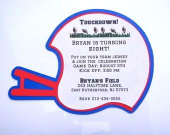 Football Helmet Birthday Invitations- Football Theme Invitation, Sports Theme Invitation- Any Team Color- Sold in Packs