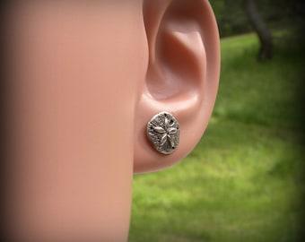 Sand dollar earrings, Sterling silver sand dollar post earrings, Beach earrings