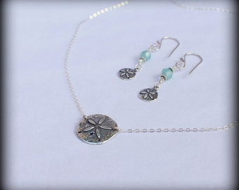 Sand dollar necklace, Sterling silver sand dollar necklace and earring set