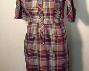 60's Plaid Shirtwaist Dress, Cotton Fabric, Size 16, Size Large, X-Large, Coquette