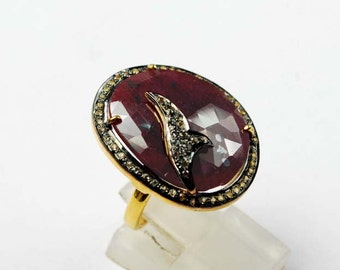 Glitzy Ruby Ring with Sparkling White Topaz SF-895