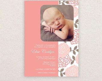 Girls Photo Christening/baptism Invitations. Floral. I Customize, You Print.