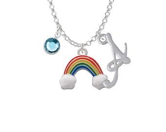 Enamel Rainbow Charm Necklace - Personalized Initial Jewelry with Crystal - Rainbow Jewelry, NC-Channel-C2702-SmGelato-F2301