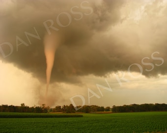Incredible Sunset Lit Tornado, Farm Scene, Photo Print