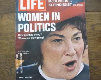 Vintage Life Magazine-1972, Bella Abzug, women in politics- free shipping