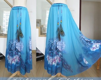 blue green long skirt spring autumn summer chiffon maxi skirt women clothing women dress beach skirt