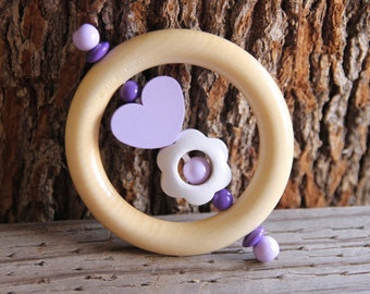 Wooden teether - rattle - natural baby toy - baby girl gift - rattle teether - baby shower gift, wooden rattle - teething toy - baby girl