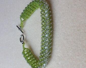 Beaded Swarovski Crystal Bracelet-Lime Green-8 in.