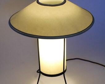 1950 TABLE LAMP pastel green thin fiberglass vintage mid century atomic age googies  era