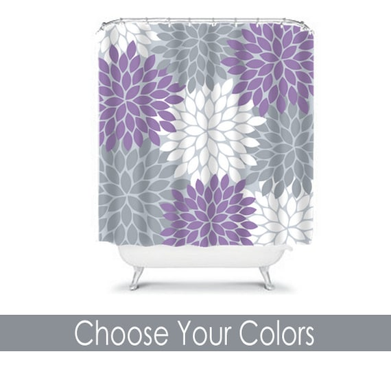 items similar to purple gray shower curtain flowers custom monogram personalized floral bathroom. Black Bedroom Furniture Sets. Home Design Ideas