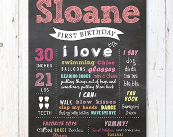 First Birthday Chalkboard Printable Poster - Pink Chalk board sign 1st birthday party - DIGITAL FILE!