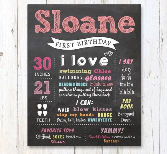 first birthday chalkboard printable poster pink chalk board