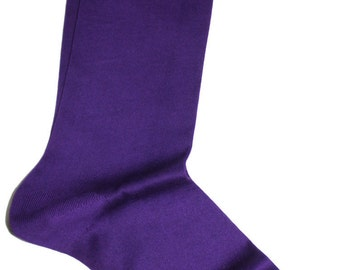 Men New Natural Ribbed %100 Cotton Fine Casual Dress Purple Socks Solid US8.5-9.5-EU 42-43,5