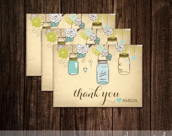 Mason Jar Thank You Card,Thank You Tag, Favor Tag, Party Favors, Mason Jars, Bridal Shower, Baby Shower, Thank you Cards