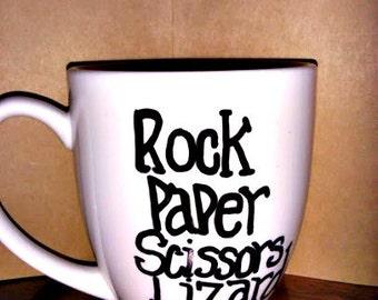 Big Bang Theory Mug/ Rock Paper Scissor Lizard Spock/ Big Bang Theory Inspired Coffee Mug
